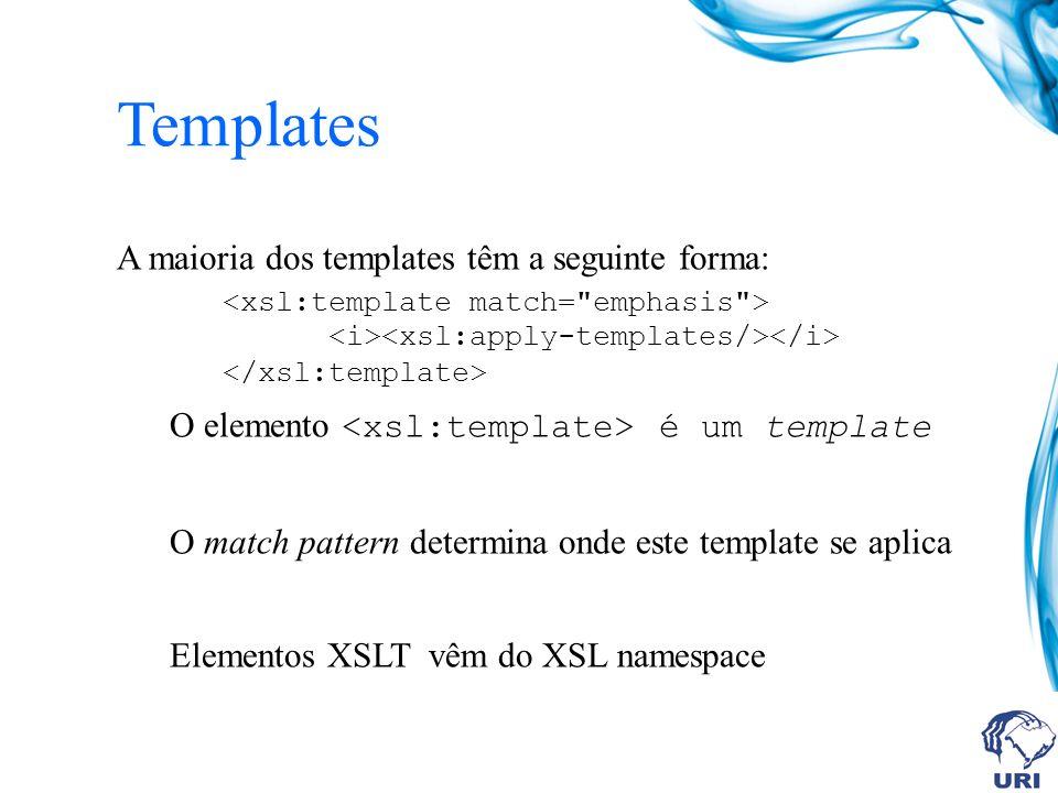 Templates A maioria dos templates têm a seguinte forma: O elemento é um template O match pattern determina onde este template se aplica Elementos XSLT vêm do XSL namespace