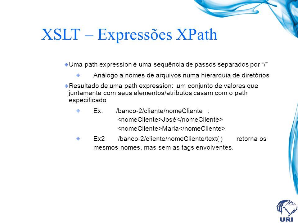 XSLT – Expressões XPath Uma path expression é uma sequência de passos separados por / Análogo a nomes de arquivos numa hierarquia de diretórios Resultado de uma path expression: um conjunto de valores que juntamente com seus elementos/atributos casam com o path especificado Ex.