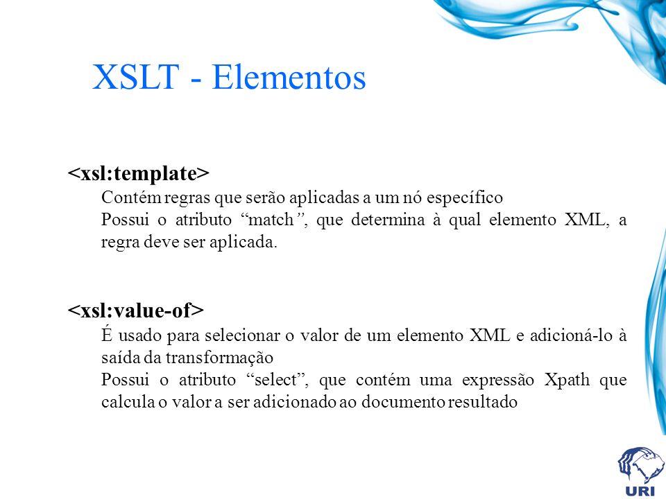 XSLT - Elementos Contém regras que serão aplicadas a um nó específico Possui o atributo match, que determina à qual elemento XML, a regra deve ser aplicada.