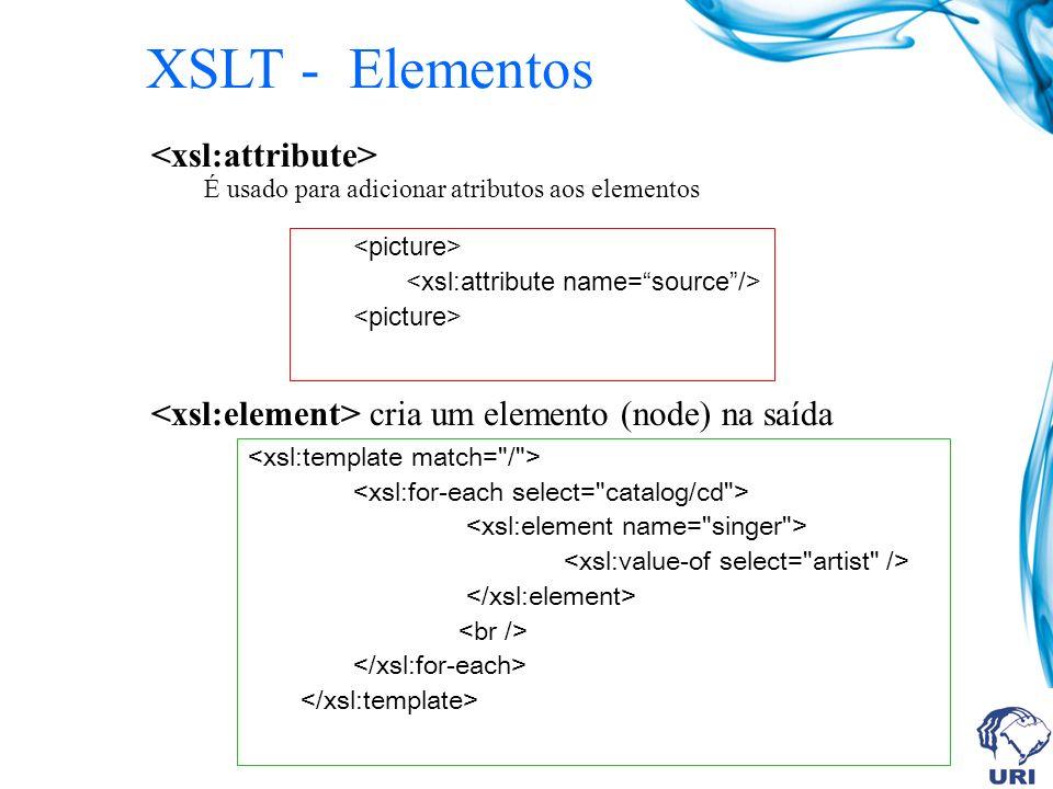 É usado para adicionar atributos aos elementos cria um elemento (node) na saída