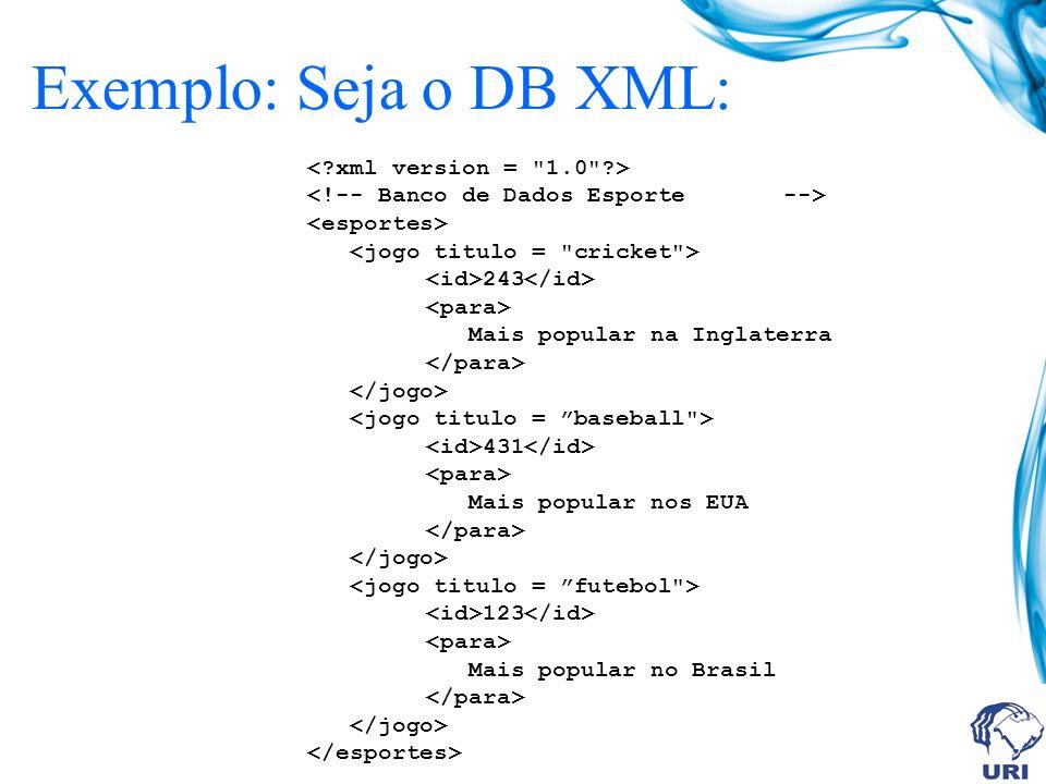 243 Mais popular na Inglaterra 431 Mais popular nos EUA 123 Mais popular no Brasil Exemplo: Seja o DB XML:
