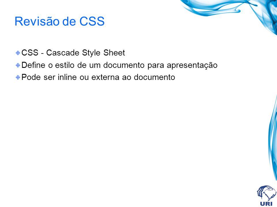 Revisão de CSS CSS - Cascade Style Sheet Define o estilo de um documento para apresentação Pode ser inline ou externa ao documento