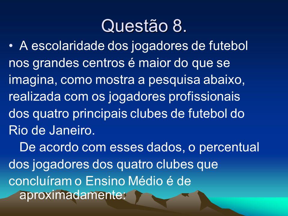 Questão 8. A escolaridade dos jogadores de futebol nos grandes centros é maior do que se imagina, como mostra a pesquisa abaixo, realizada com os joga