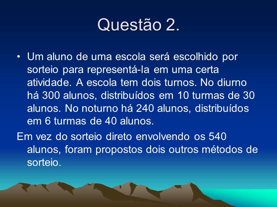 Método I: escolher ao acaso um dos turnos (por exemplo, lançando uma moeda) e, a seguir, sortear um dos alunos do turno escolhido.