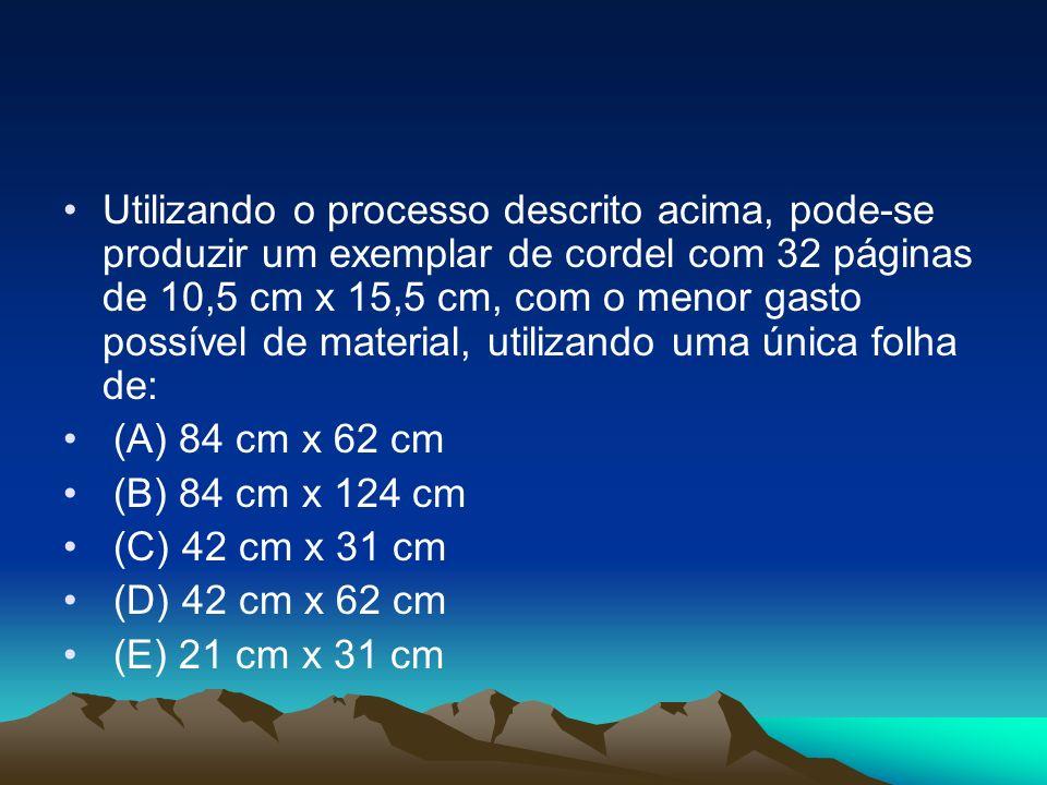 Utilizando o processo descrito acima, pode-se produzir um exemplar de cordel com 32 páginas de 10,5 cm x 15,5 cm, com o menor gasto possível de materi