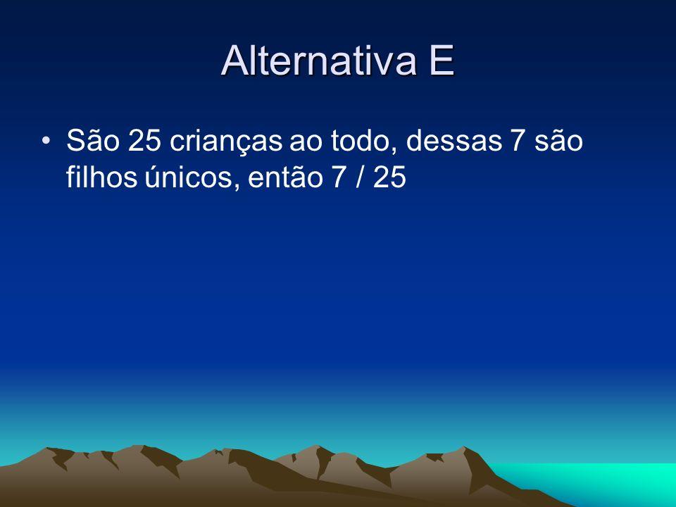 Alternativa E São 25 crianças ao todo, dessas 7 são filhos únicos, então 7 / 25