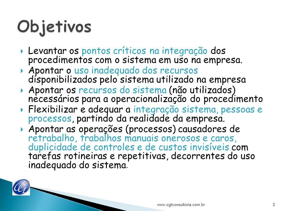 Levantar os pontos críticos na integração dos procedimentos com o sistema em uso na empresa. Apontar o uso inadequado dos recursos disponibilizados pe