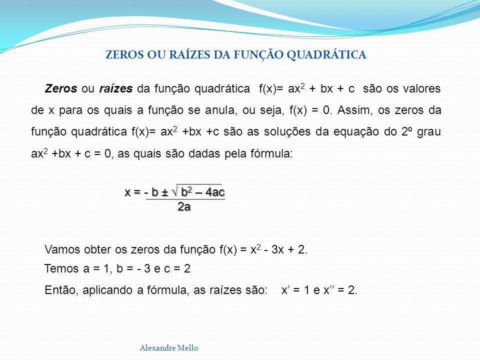 ZEROS OU RAÍZES DA FUNÇÃO QUADRÁTICA Zeros ou raízes da função quadrática f(x)= ax 2 + bx + c são os valores de x para os quais a função se anula, ou