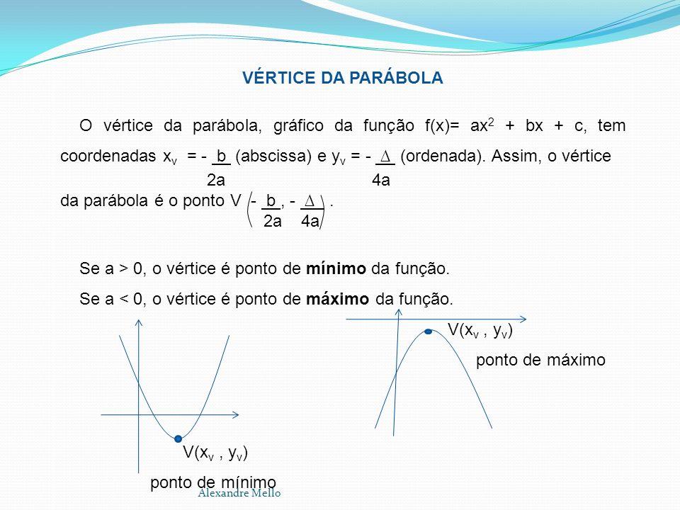 VÉRTICE DA PARÁBOLA O vértice da parábola, gráfico da função f(x)= ax 2 + bx + c, tem coordenadas x v = - b (abscissa) e y v = - (ordenada). Assim, o