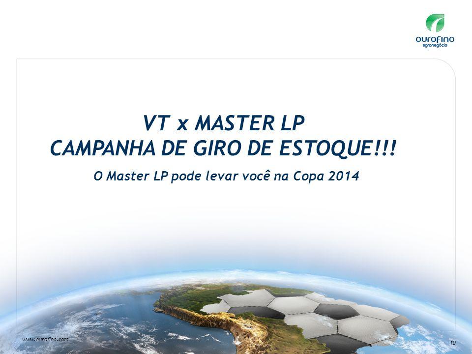 www.ourofino.com 10 VT x MASTER LP CAMPANHA DE GIRO DE ESTOQUE!!! O Master LP pode levar você na Copa 2014