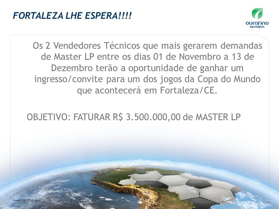 www.ourofino.com 11 FORTALEZA LHE ESPERA!!!! Os 2 Vendedores Técnicos que mais gerarem demandas de Master LP entre os dias 01 de Novembro a 13 de Deze
