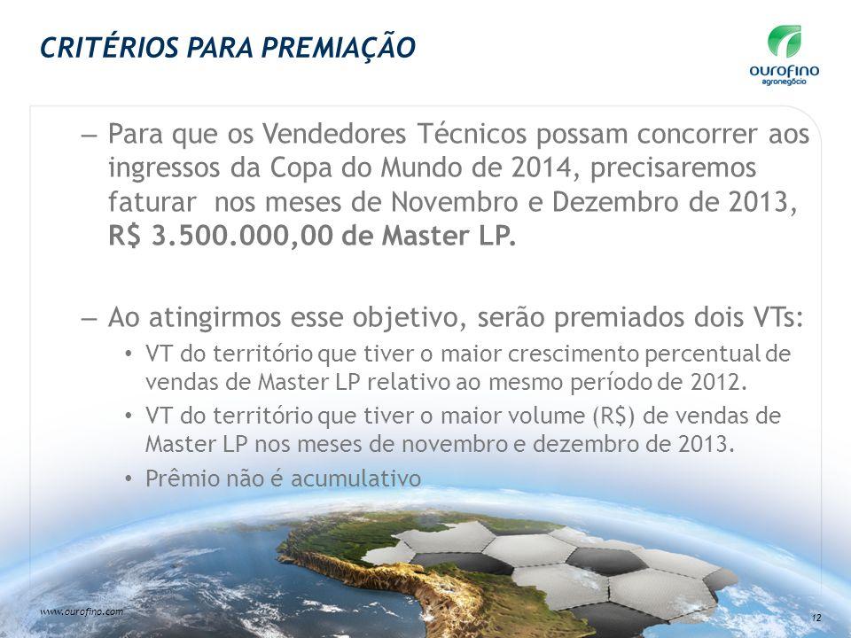 www.ourofino.com 12 CRITÉRIOS PARA PREMIAÇÃO – Para que os Vendedores Técnicos possam concorrer aos ingressos da Copa do Mundo de 2014, precisaremos f