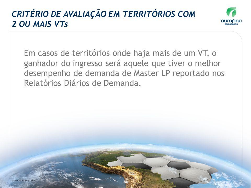 www.ourofino.com 13 CRITÉRIO DE AVALIAÇÃO EM TERRITÓRIOS COM 2 OU MAIS VTs Em casos de territórios onde haja mais de um VT, o ganhador do ingresso ser