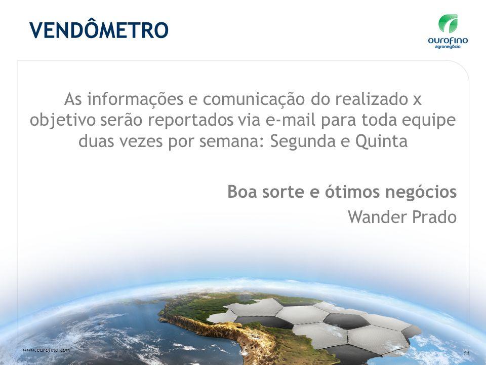 www.ourofino.com 14 VENDÔMETRO As informações e comunicação do realizado x objetivo serão reportados via e-mail para toda equipe duas vezes por semana