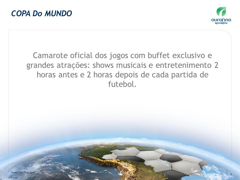 www.ourofino.com 3 COPA Do MUNDO Camarote oficial dos jogos com buffet exclusivo e grandes atrações: shows musicais e entretenimento 2 horas antes e 2