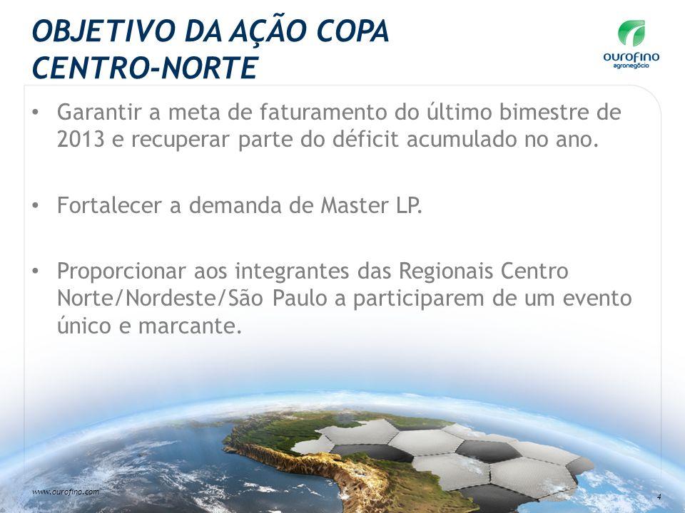 www.ourofino.com 4 OBJETIVO DA AÇÃO COPA CENTRO-NORTE Garantir a meta de faturamento do último bimestre de 2013 e recuperar parte do déficit acumulado