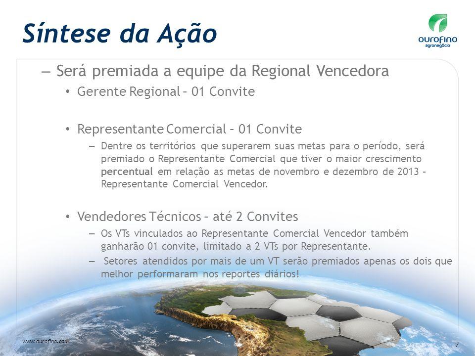www.ourofino.com 7 Síntese da Ação – Será premiada a equipe da Regional Vencedora Gerente Regional – 01 Convite Representante Comercial – 01 Convite –