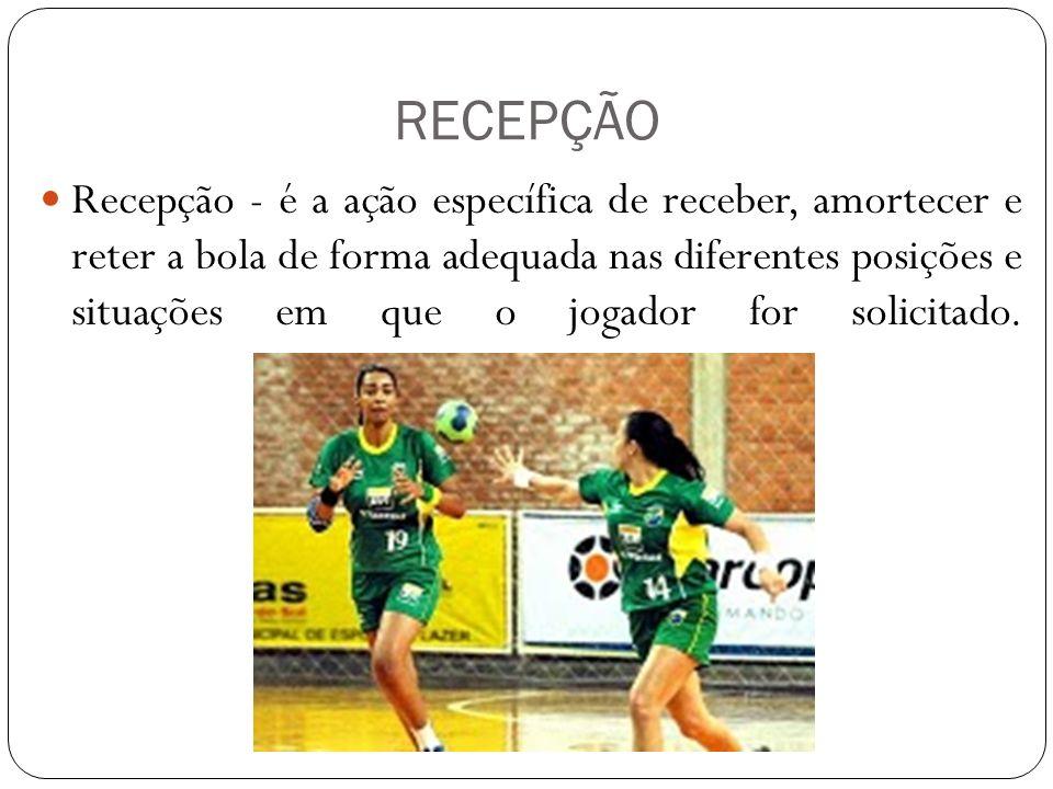 RECEPÇÃO Recepção - é a ação específica de receber, amortecer e reter a bola de forma adequada nas diferentes posições e situações em que o jogador fo