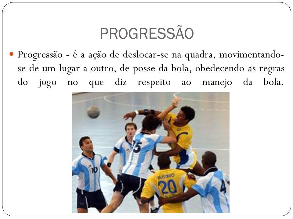 PROGRESSÃO Progressão - é a ação de deslocar-se na quadra, movimentando- se de um lugar a outro, de posse da bola, obedecendo as regras do jogo no que