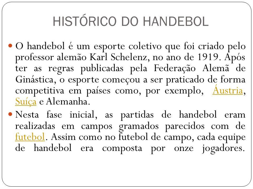 O handebol é um esporte coletivo que foi criado pelo professor alemão Karl Schelenz, no ano de 1919. Após ter as regras publicadas pela Federação Alem