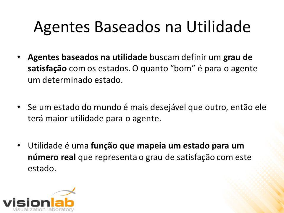 Agentes Baseados na Utilidade Agentes baseados na utilidade buscam definir um grau de satisfação com os estados. O quanto bom é para o agente um deter