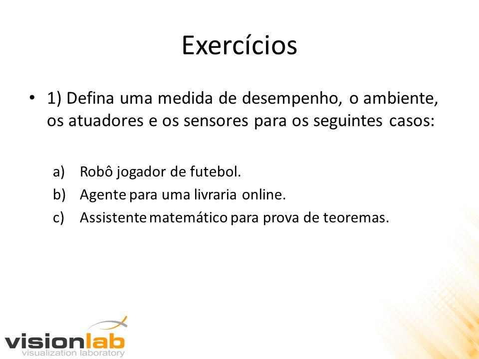Exercícios 1) Defina uma medida de desempenho, o ambiente, os atuadores e os sensores para os seguintes casos: a)Robô jogador de futebol. b)Agente par