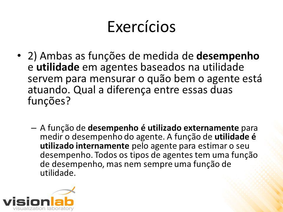Exercícios 2) Ambas as funções de medida de desempenho e utilidade em agentes baseados na utilidade servem para mensurar o quão bem o agente está atua