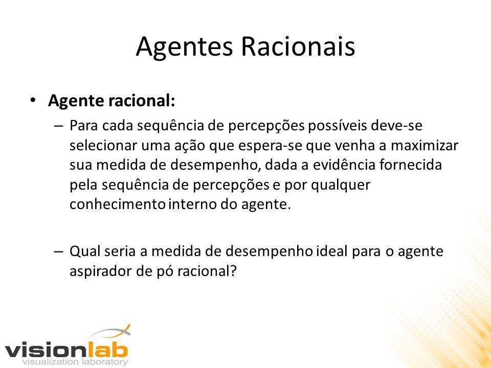 Agentes Racionais Agente racional: – Para cada sequência de percepções possíveis deve-se selecionar uma ação que espera-se que venha a maximizar sua m