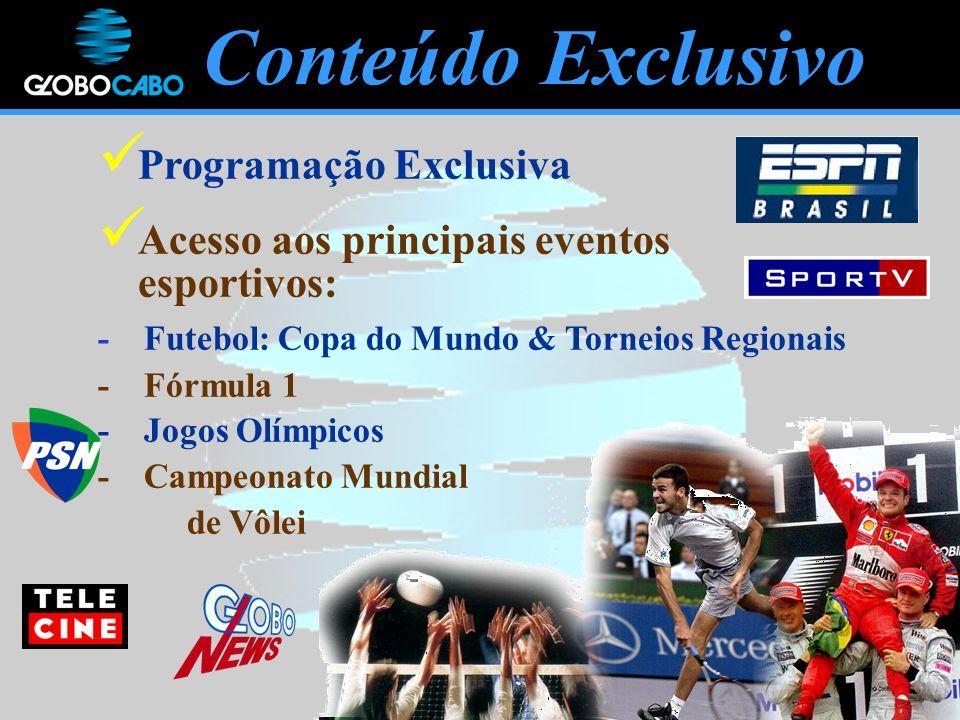 Programação Exclusiva Acesso aos principais eventos esportivos: - Futebol: Copa do Mundo & Torneios Regionais - Fórmula 1 - Jogos Olímpicos - Campeonato Mundial de Vôlei Conteúdo Exclusivo