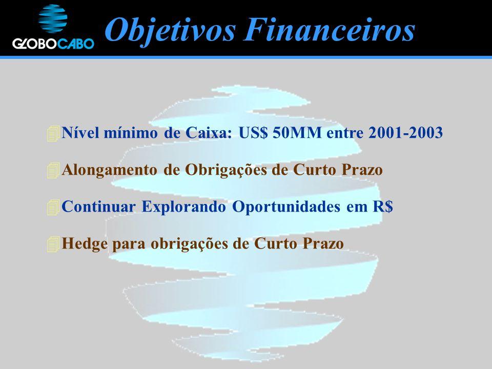 Objetivos Financeiros 4Nível mínimo de Caixa: US$ 50MM entre 2001-2003 4Alongamento de Obrigações de Curto Prazo 4Continuar Explorando Oportunidades em R$ 4Hedge para obrigações de Curto Prazo