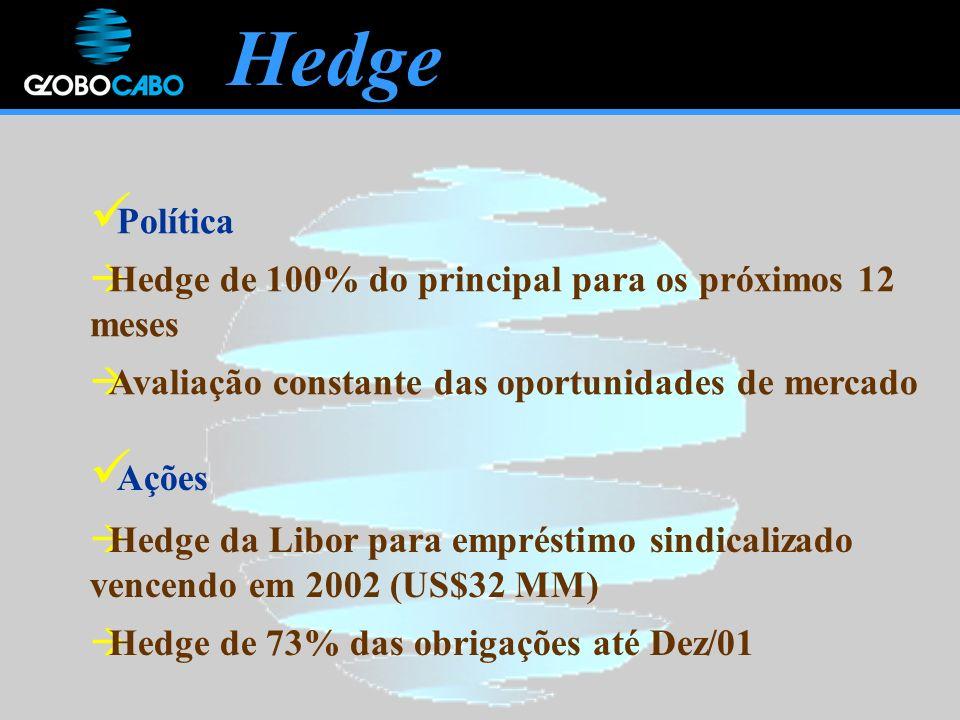 Hedge Política Hedge de 100% do principal para os próximos 12 meses Avaliação constante das oportunidades de mercado Ações Hedge da Libor para empréstimo sindicalizado vencendo em 2002 (US$32 MM) Hedge de 73% das obrigações até Dez/01