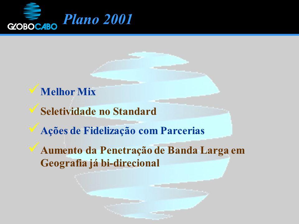 Plano 2001 Melhor Mix Seletividade no Standard Ações de Fidelização com Parcerias Aumento da Penetração de Banda Larga em Geografia já bi-direcional
