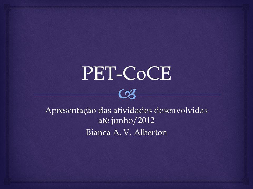 Apresentação das atividades desenvolvidas até junho/2012 Bianca A. V. Alberton