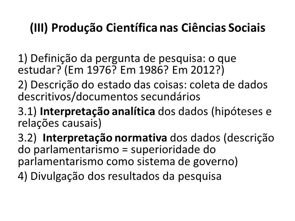 (III) Produção Científica nas Ciências Sociais 1) Definição da pergunta de pesquisa: o que estudar? (Em 1976? Em 1986? Em 2012?) 2) Descrição do estad