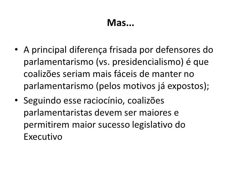 Mas... A principal diferença frisada por defensores do parlamentarismo (vs. presidencialismo) é que coalizões seriam mais fáceis de manter no parlamen
