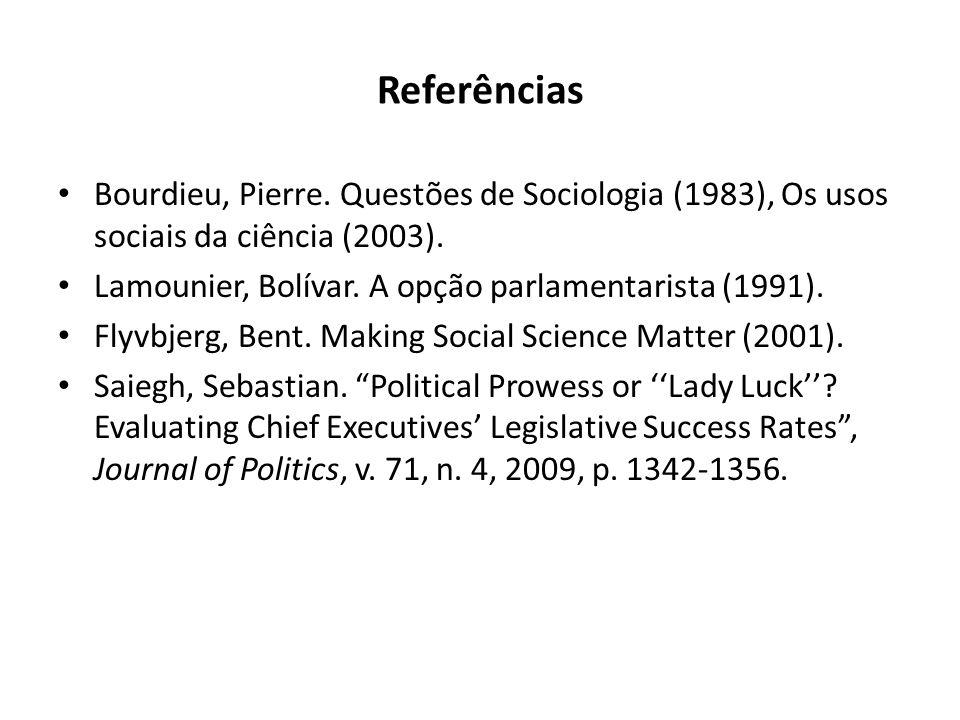 Referências Bourdieu, Pierre. Questões de Sociologia (1983), Os usos sociais da ciência (2003). Lamounier, Bolívar. A opção parlamentarista (1991). Fl