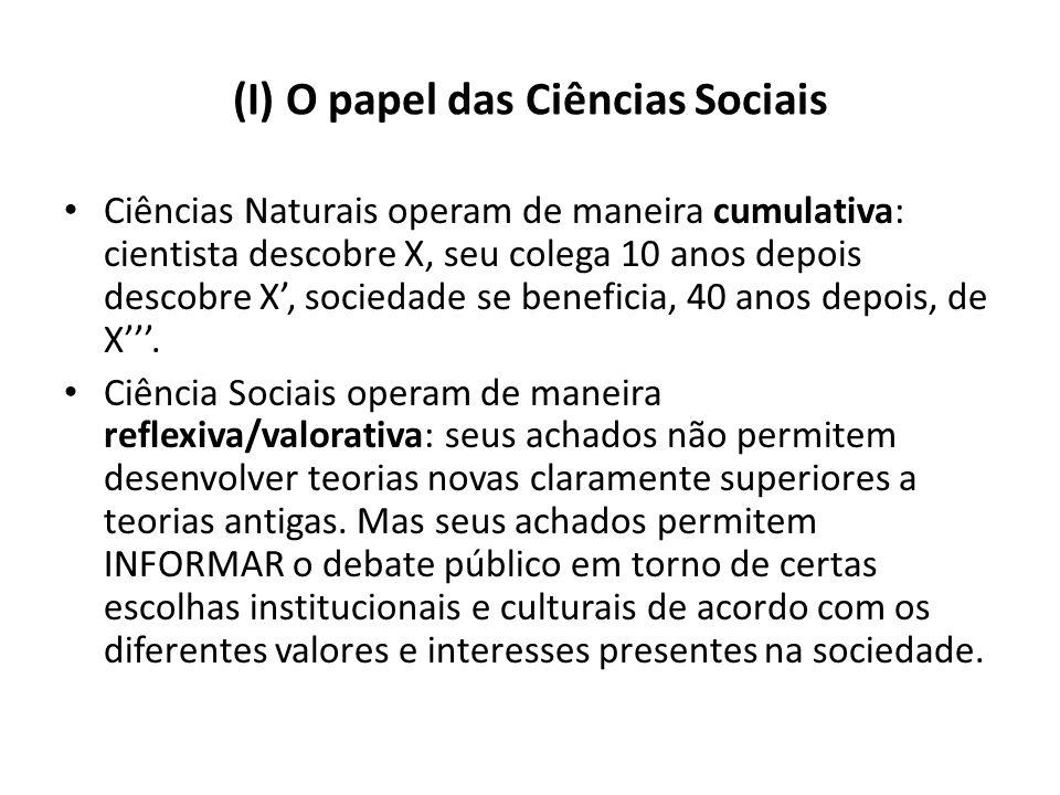 (I) O papel das Ciências Sociais Ciências Naturais operam de maneira cumulativa: cientista descobre X, seu colega 10 anos depois descobre X, sociedade