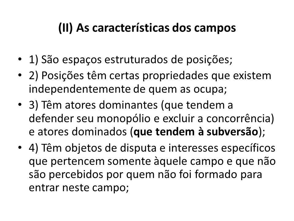 (II) As características dos campos 1) São espaços estruturados de posições; 2) Posições têm certas propriedades que existem independentemente de quem