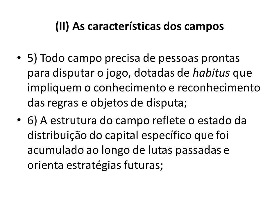 (II) As características dos campos 5) Todo campo precisa de pessoas prontas para disputar o jogo, dotadas de habitus que impliquem o conhecimento e re