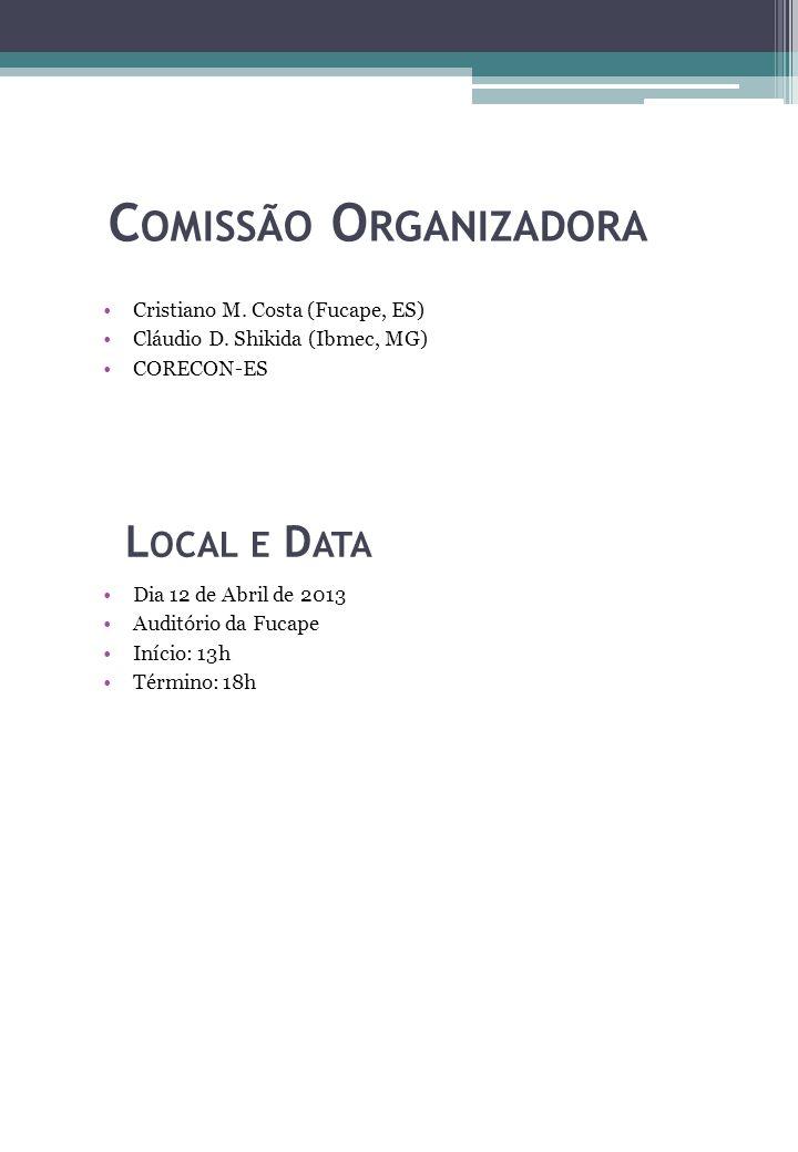C OMISSÃO O RGANIZADORA Cristiano M. Costa (Fucape, ES) Cláudio D. Shikida (Ibmec, MG) CORECON-ES L OCAL E D ATA Dia 12 de Abril de 2013 Auditório da