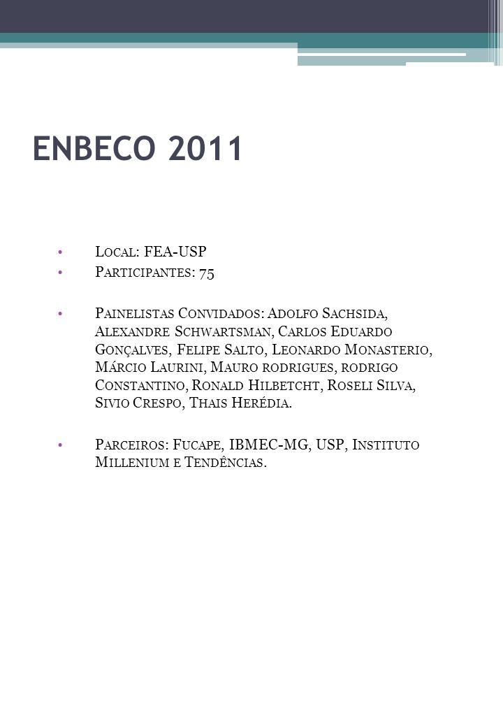 ENBECO 2011 L OCAL : FEA-USP P ARTICIPANTES : 75 P AINELISTAS C ONVIDADOS : A DOLFO S ACHSIDA, A LEXANDRE S CHWARTSMAN, C ARLOS E DUARDO G ONÇALVES, F ELIPE S ALTO, L EONARDO M ONASTERIO, M ÁRCIO L AURINI, M AURO RODRIGUES, RODRIGO C ONSTANTINO, R ONALD H ILBETCHT, R OSELI S ILVA, S IVIO C RESPO, T HAIS H ERÉDIA.