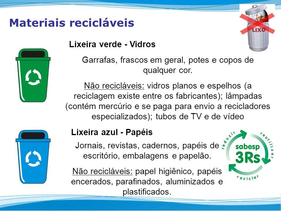 Materiais recicláveis Garrafas, frascos em geral, potes e copos de qualquer cor.