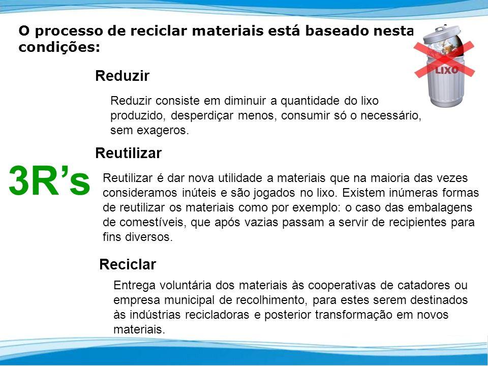 O processo de reciclar materiais está baseado nestas três condições: Reduzir Reduzir consiste em diminuir a quantidade do lixo produzido, desperdiçar menos, consumir só o necessário, sem exageros.