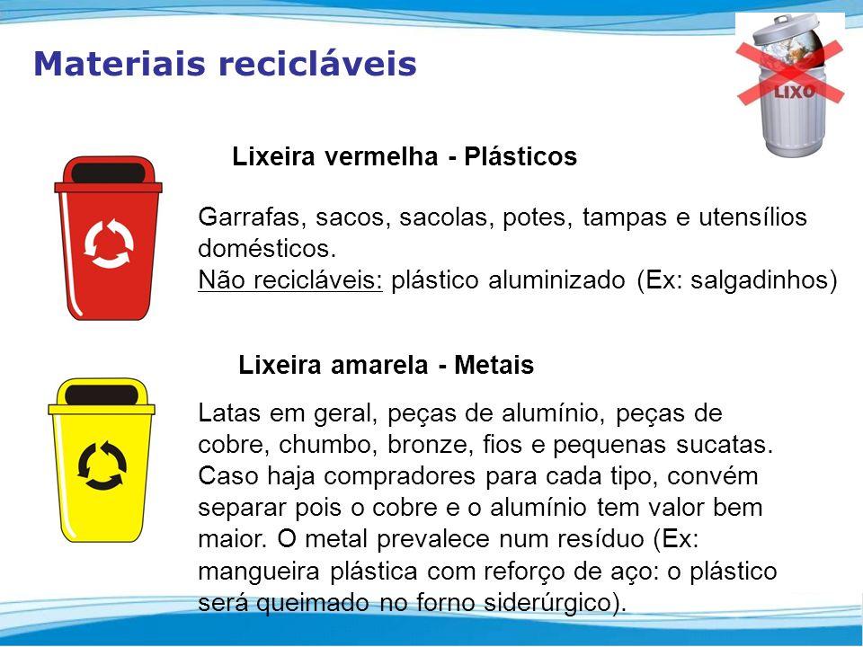 Materiais recicláveis Lixeira vermelha - Plásticos Garrafas, sacos, sacolas, potes, tampas e utensílios domésticos.