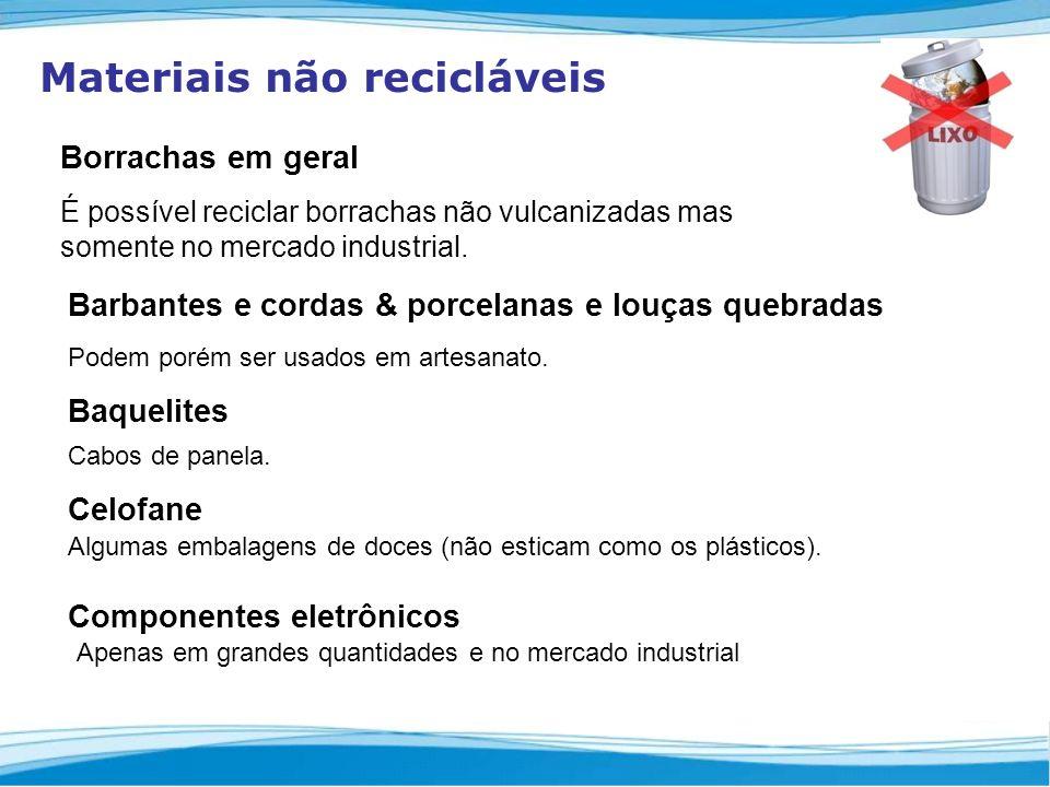 Materiais não recicláveis Borrachas em geral É possível reciclar borrachas não vulcanizadas mas somente no mercado industrial.