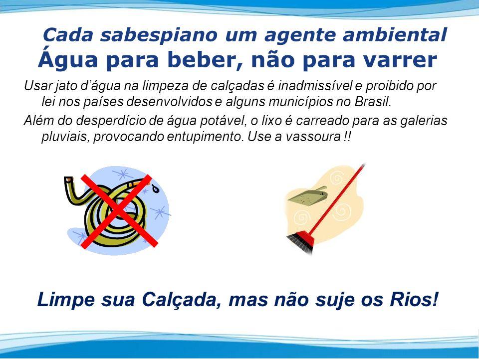 Usar jato dágua na limpeza de calçadas é inadmissível e proibido por lei nos países desenvolvidos e alguns municípios no Brasil.
