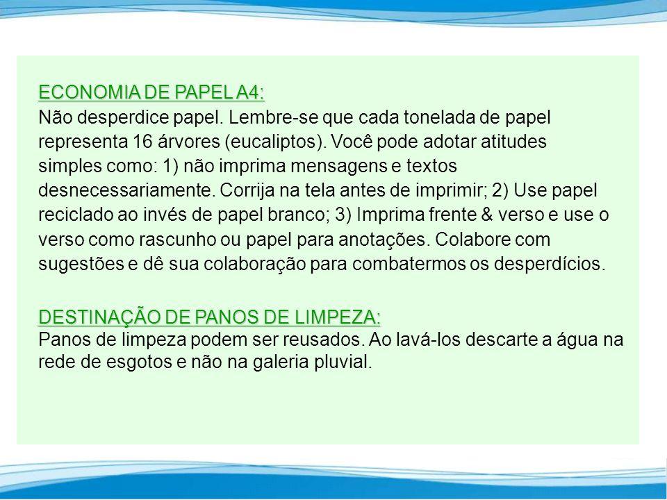 ECONOMIA DE PAPEL A4: ECONOMIA DE PAPEL A4: Não desperdice papel.