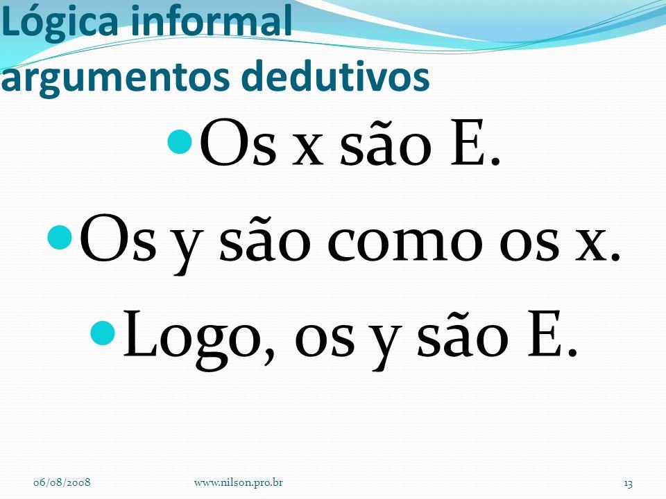 Lógica informal argumentos dedutivos Os x são E. Os y são como os x. Logo, os y são E. 06/08/2008www.nilson.pro.br13