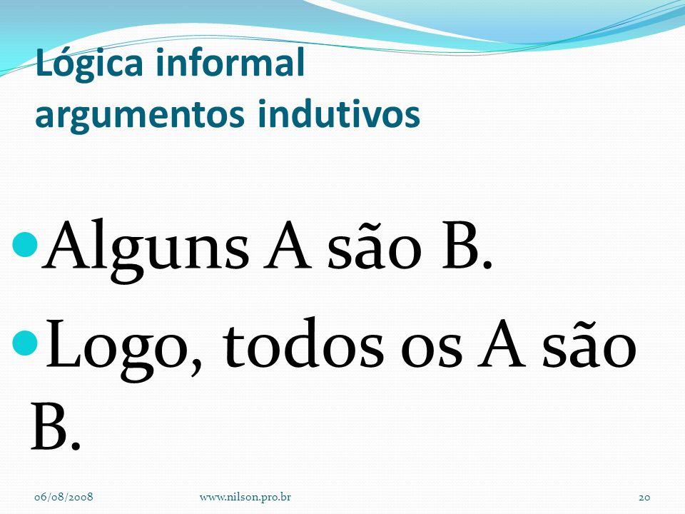 Lógica informal argumentos indutivos Alguns A são B. Logo, todos os A são B. 06/08/2008www.nilson.pro.br20