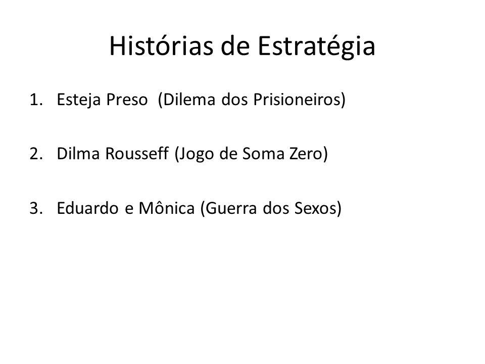 Histórias de Estratégia 1.Esteja Preso (Dilema dos Prisioneiros) 2.Dilma Rousseff (Jogo de Soma Zero) 3.Eduardo e Mônica (Guerra dos Sexos)